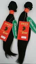 "2 PKGS JIMMY GOLD #1 100% REAL Human Hair 14"" Weaving Silky Straight 200G WVG"
