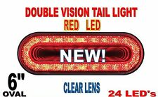 "24 LED 6"" OVAL ""MIRAGE"" STOP,TURN & TAIL LIGHT- RED LED/CLEAR LENS"