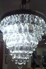 "Pottery Barn CLARISSA GLASS DROP ROUND CHANDELIER  NEW 13"" diameter X 19.5"" high"
