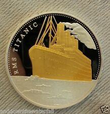 TITANIC Silver & Gold Coin Atlantic Ocean Man Map Sea Ship Sailing Old U C Retro