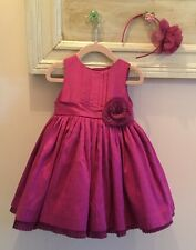 Janie and Jack Special Occasion Holiday Silk Dress & Headband  size 18-24 EUC