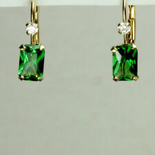 14K solid yellow gold rectangular Emerald stone Leverback earrings
