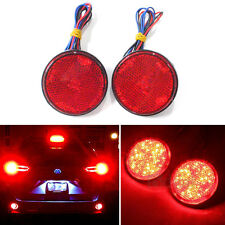 2 x Round Reflector Red LED Rear Tail Brake Stop Turn Signal Light Lamp