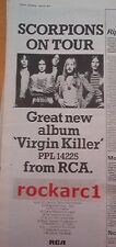 SCORPIONS Virgin Killer Tour 1979 UK Poster size Press ADVERT 16x6""