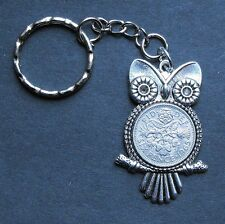 1958 lucky Sixpence Owl Bird keyring Pendant Charm 59th birthday Michael Jackson