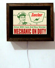 Sinclair Gas Oil Station Attendant Mechanic On Duty 50s Retro Light Lighted Sign