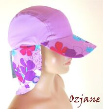 GIRLS UV 50 +OZCOZ SUN SWIM HAT SUN PROTECTION LEGIONNAIRE LILAC 7 TO 10 YRS