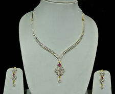American Diamond CZ  Ruby  Drop String Necklace Set