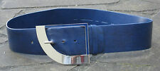 FREE POSTAGE* Wide Blue Leather Belt womens shiny silver quarter circle buckle