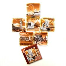 London Scene Picture Coasters Set of 6 - Photo in Sepia Cork Base Drink Mats