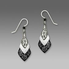 Adajio Black and White Necktie Shape EARRINGS Sterling Silver Dangle  Gift Boxed