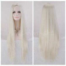 New Womens Long Straight Full Hair Wig Cosplay Anime Lolita Girls Blonde Wig+cap