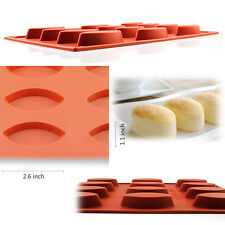12-Cavity Silicone Heart Muffin Brownie Cornbread Baking Mold Soap Loaf Soft Pan