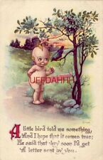 A LITTLE BIRD TOLD ME SOMETHING, AND I HOPE IT COMES TRUE kewpie and bird