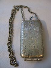 Antique Victorian Chatelaine Brass Floral Engraved Compact Watch Fob Coin Holder