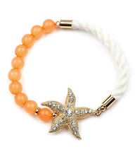Crystal Starfish Peach Beads White Rope Charm Bracelet