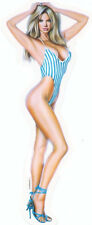 RARE SEXY Blonde in HEELS PIN-UP GIRL Surfboard STICKER/DECAL  Art by CARTAGENA