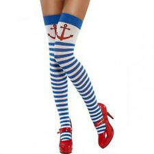 New Ladies Blue & White Red Anchor Nautical Sailor Striped Fancy Dress Stocking
