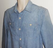 LL Bean Signature M Chambray Slim Fit Work Shirt Denim Blue Medium Mens