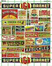 5014 DAVE'S DECALS HO IGA GROCERY SUPERMARKET SIGNAGE & PRODUCT ADVERTISING