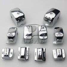 Chrome Carved Hand Control Switch Cover Button Caps 4 Harley SOFTAIL DYNA FLHTC