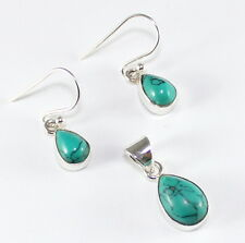 TURQUOISE .925 SILVER PENDANT EARRING  SET SIZE 1/8""
