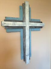 Large Rustic Wall Cross reclaimed Salvaged Distressed Wood Chic Teal Blue