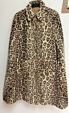 VTG Rare Leopard Print Faux Fur Beige Reversible Swing Cape One Size Poncho Coat