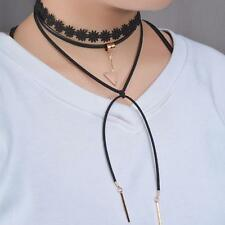 Pretty Lace Leather Velvet Rope Multi-Layers Necklace Tube Pendant Jewelry