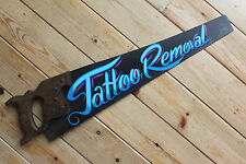 "Rusty Vintage ""Blue Tattoo Removal"" Hand Saw Sign Retro Plaque VW Hotrod Bar"