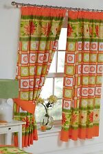 "DAISY CHECK 66"" x 72"" PENCIL PLEAT CURTAINS ORANGE FLORAL YELLOW GREEN LIME"