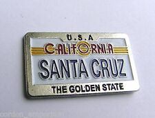 US CALIFORNIA THE GOLDEN STATE SANTA CRUZ LICENSE PLATE PIN BADGE 1.2 inches