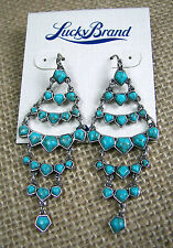 Lucky Brand Semi Precious Turquoise Stones Silver Tone Chandelier Earrings