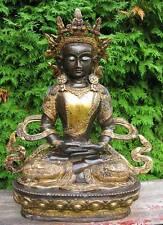 NEPAL*TIBET*INDE*SANTÉ*DÉCORATION*BUDDHA STATUE BOUDDHA AMITHABA BRONZE*OR*68c