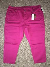 Seven7 Capri Jeans Pencil Pink Denim Plus Size 28 Inseam 23 Skinny 28W NWT $89