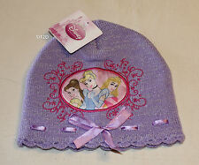 Disney Princess Girls Purple Embroidered Acrylic Beanie Size 4 - 6 New