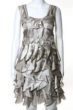 Ryu Beige Sleeveless Pleated Tiered Detail Cocktail Dress Size Large