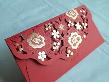 1pc Wedding Invitation Envelope Die Cut Floral Metallic Printed- Red