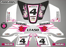 suzuki lta 50 quad graphics stickers decals name & number  lta50 pink