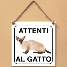 Siamese 4 Attenti al gatto Targa gatto cartello ceramic tiles