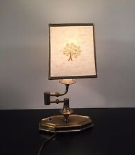 AINSLEY Cast Iron & Brass Swivel Candle Stick Banker's -Desk Lamp Japanese Shade