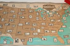 Vintage Stamp Map Of The United States USA.