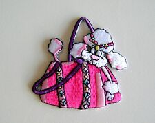 Animal / Poodle Dog in Pink Handbag Embroidered Iron On Applique / Patch