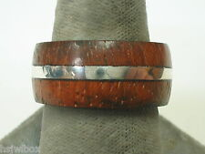 Sterling silver ring with IPE  wood accents