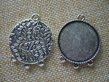 10pcs Anti-Silver 30mm Round Leaf Cameo Bezel Setting Cabochon Tray Pendant