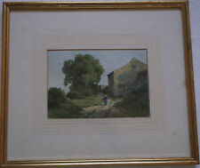 FRAMED VICTORIAN WATERCOLOUR PAINTING signed A LADY WALKING ON A RURAL PATH
