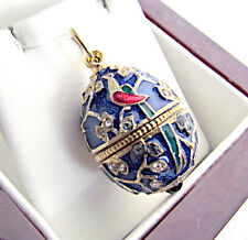 UNIQUE MADE OF SOLID STERLING SILVER 925 & 24K GOLD ENAMEL EGG PENDANT PEACOCK