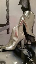 "WOMEN PARTY SEXY BOOTS ""BURBERRY""100% PATENT SILVER  LEATHER , HEELS EU 37 1/2"