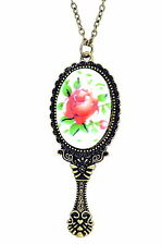 vintage retro style bronze mirror with rose patter pendant necklace