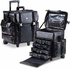 MUA limitata PROFESSIONALE BELLEZZA Trolley TRUCCATRICE Custodia nera in pelle
